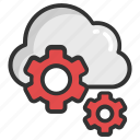 cloud computing, cloud factory, cloud gear, cloud service, digital cloud icon