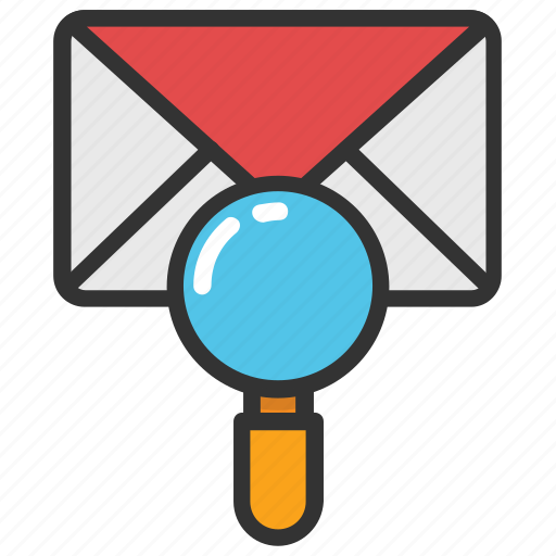 envelope with magnifier, mail magnifier, mail marketing, mail search, message search icon