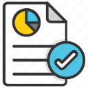 approved report, audit, business report, graphic verification, report check mark icon