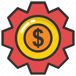 business development, business stability, dollar gearwheel, economic growth, money gear icon