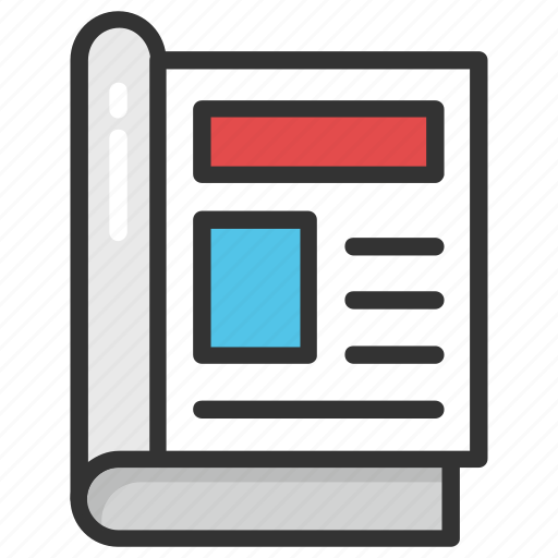 book layout, book page, content design, magazine article, page design icon