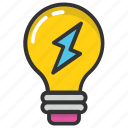 bulb energy, electric power, energy efficient, power symbol, thunder bulb icon