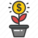 business growth, business success, dollar plant, growing dollar, investment startup icon