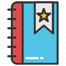 book ranking, book rating, bookmark, quality symbol, star book icon