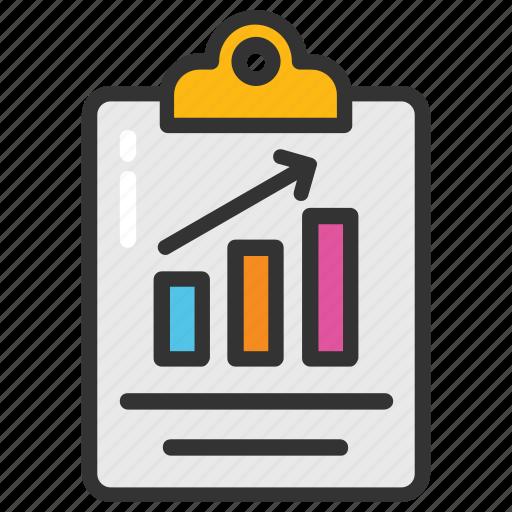 analytics, business financial chart, business graph, clipboard graph chart, graph chart icon