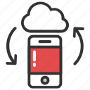 cloud data access, cloud network access, cloud save and sync, device syncing to cloud, mobile app icon