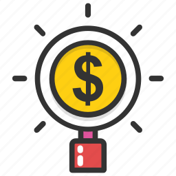 business marketing, online earnings concept, search money, search transaction, unclaimed money search icon