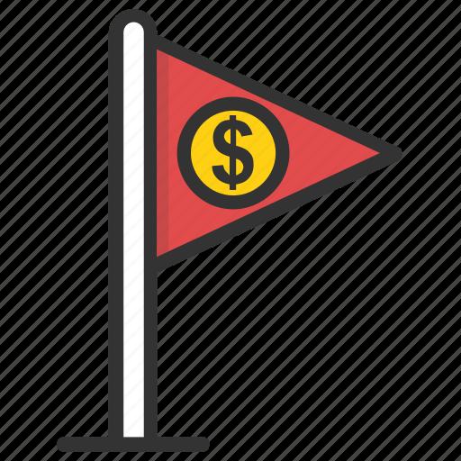 business achievement, dollar flag, finance concept, financial success, money symbol flag icon