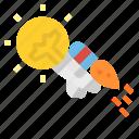 astronaut, creative, idea, new, rocket icon
