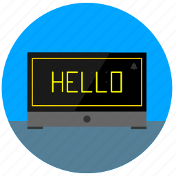 clock, digital, hello, start, time, watch icon
