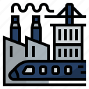business sector, digital economy, factory, industrial, infrastructure icon