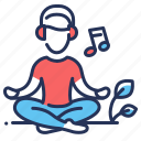 listening, meditating, music, relaxation icon