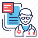 consultation, doctor, online chatting, smartphone icon