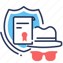 confidentiality, document, incognito, shield icon