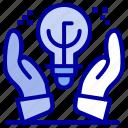 business, hand, idea, ideas, protected icon