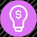 bulb, creativity, digital marketing, dollar sign, electric bulb, idea