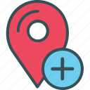 gps, location, marker, navigation, plus icon