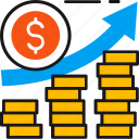 business, coins, finance, graph, growth, marketing, profit icon