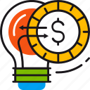 coin, crowdfunding, finance, innovation, lamp, money, solution icon