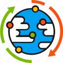 arrows, environment, exchange, global, planet, solution, world icon