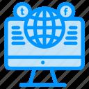 computer, facebook, globe, media, social, website