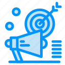 audiance, campaign, marketing, megaphone, target icon