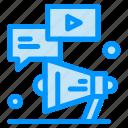 chat, marketing, megaphone, video, youtube