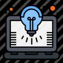 bulb, idea, laptop, solution