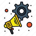 advertising, marketing, megaphone, settings