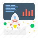 data, launch, marketing, promote icon