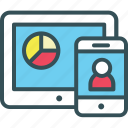 chart, graph, mobile, pad, pie icon