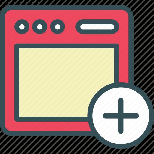 add, app, browser, webpage, window icon