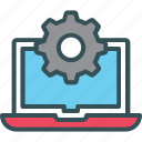 cog, gear, laptop, setting, window icon