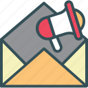 advertising, email, letter, mail, megaphone icon