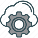 cloud, cog, database, gear, setting icon
