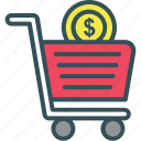 basket, cart, dollar, shopping, shopping cart icon