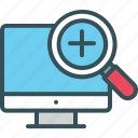 fine, lcd, screen, search, zoom icon