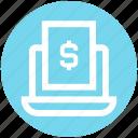 computer, digital marketing, document, dollar, file, laptop