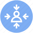 arrows, digital marketing, focus, user, user centered icon