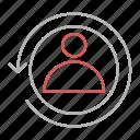 arrow, renew, returning, visitor icon
