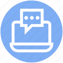 chat, comment, digital marketing, laptop, message, notebook