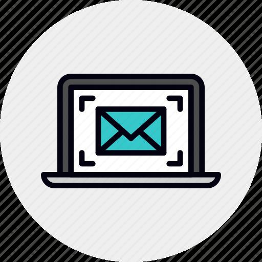 email, laptop, marketing icon