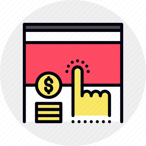 click, pay, payment, ppc, web icon