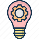 bulb, gear, idea, idea optimization, optimization icon