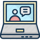 chat support, customer support, laptop, live chat, live support icon