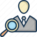 candidate, find employee, magnifier, recruitment, search employee icon