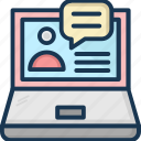 chatting, laptop, video call, video chat, video conference icon