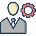 businessman, man, man with cog, management, manager icon