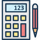 accounting, calculating device, calculator, office supplies, pencil icon
