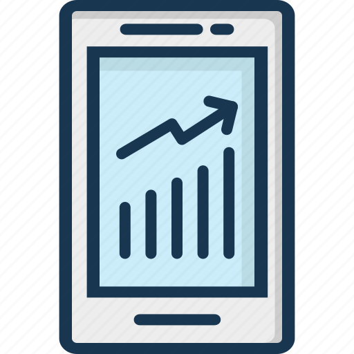 analytics, infographic, mobile, mobile graph, online graph icon